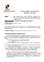 Compte-rendu du Conseil Municipal du 11 juin 2019