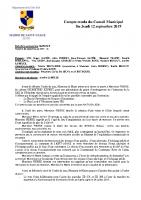 Compte-rendu du Conseil Municipal du 12 septembre 2019