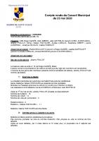 Compte-rendu du Conseil Municipal du 23 mai 2020