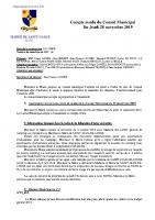 Compte-rendu du Conseil Municipal du 28 novembre 2019